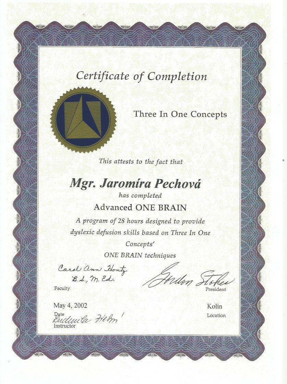 Certifikát Pokročilý One Brain Jaromíra Pechová