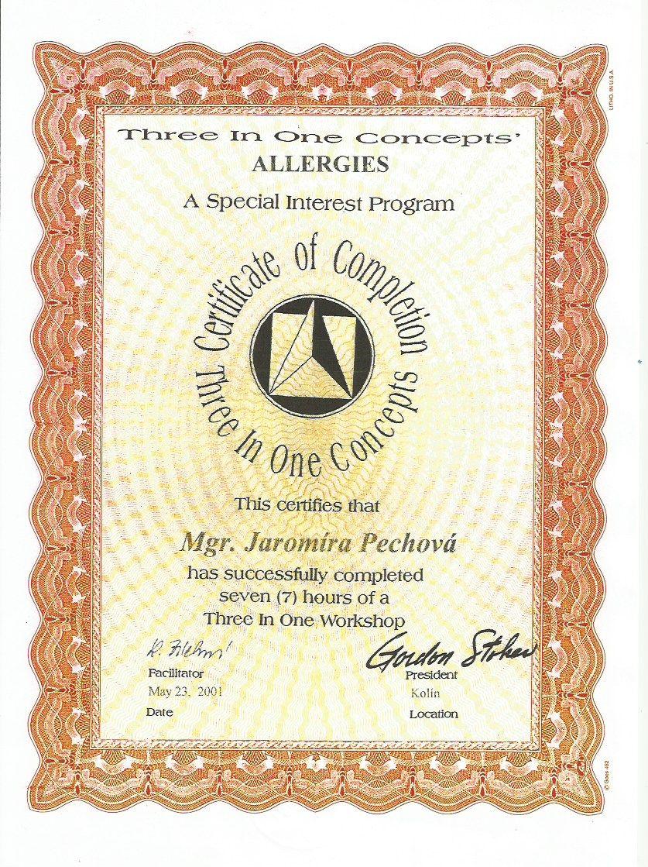 Certifikace One Brain Tři vjednom Alergie Jaromíra Pechová